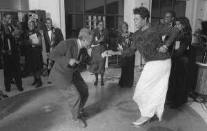 Amiri Baraka and Maya Angelou dancing at the Schomburg Center for Research in Black Culture.